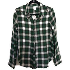 H&M Green Plaid Button Down Top